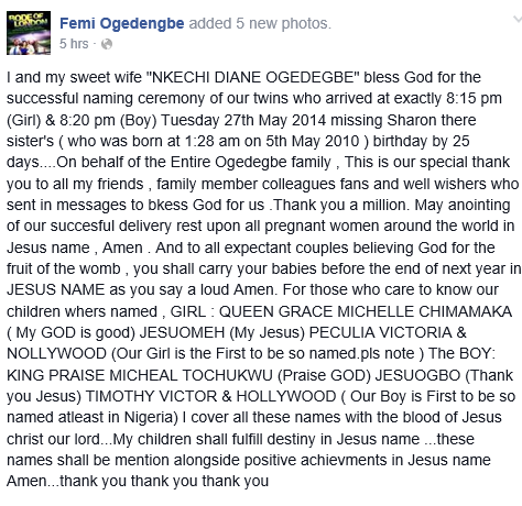 Nigerian Actor Femi Ogedengbe names newborn twins Hollywood and Nollywood