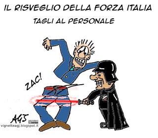 Risveglio della forza, berlusconi, forza italia, satira vignetta