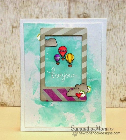 Watercolor card with Hot Air Balloons by Samantha Mann | Newton's Nook Designs | Newton Dreams of Paris Stamp Set