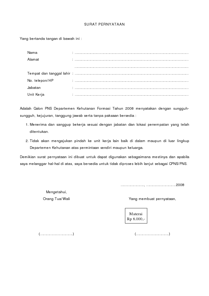 Contoh Surat Pernyataan Pengunduran Diri
