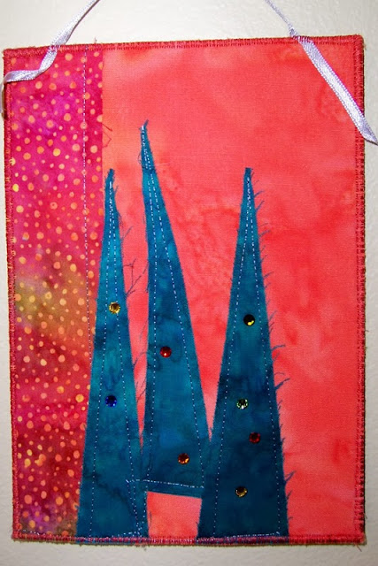 trees on batik with swarovski crystals - a marty mason original fabric art card