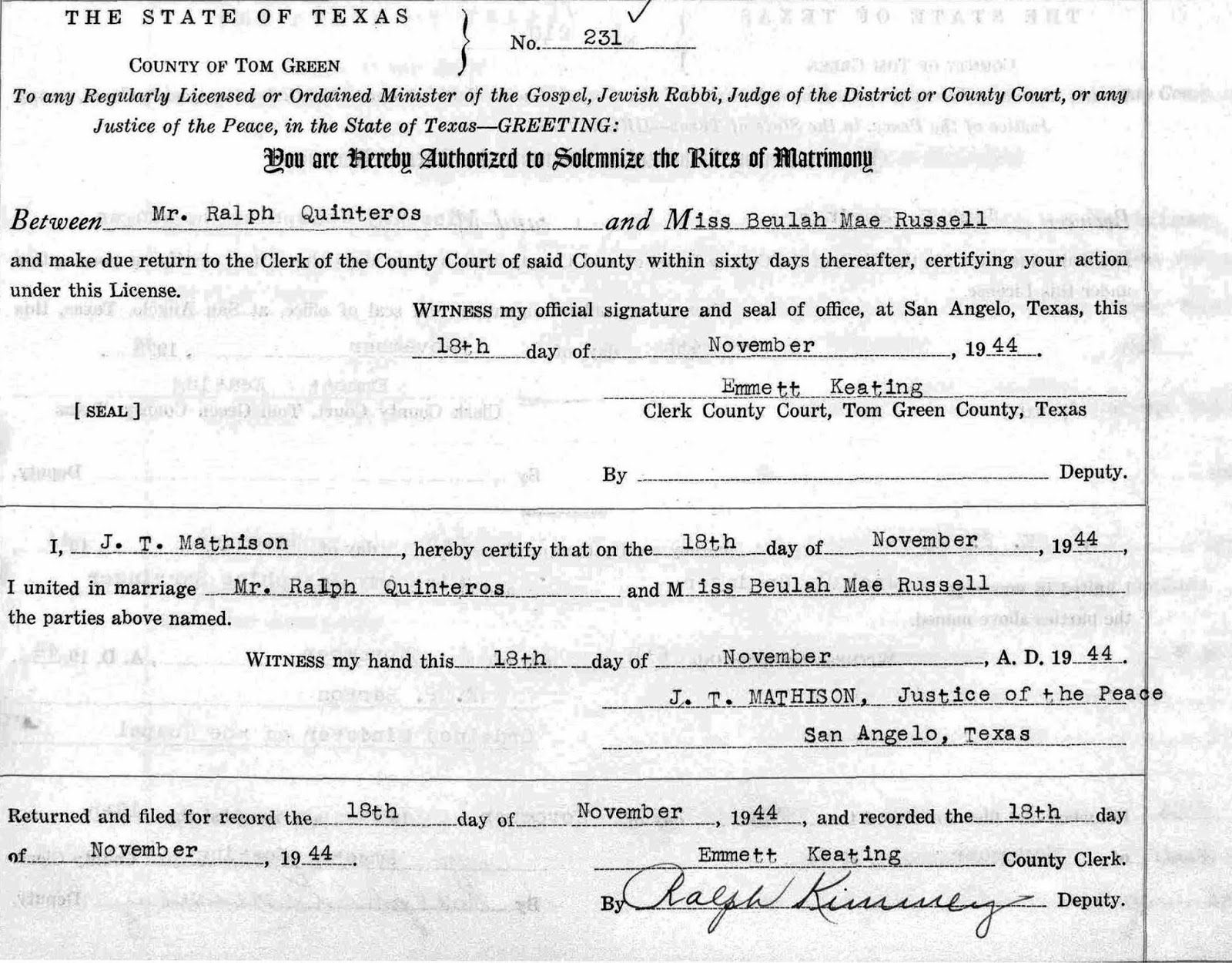 Life in the past lane february 2014 marriage record of ralph quinteros beulah mae houston russell aiddatafo Image collections