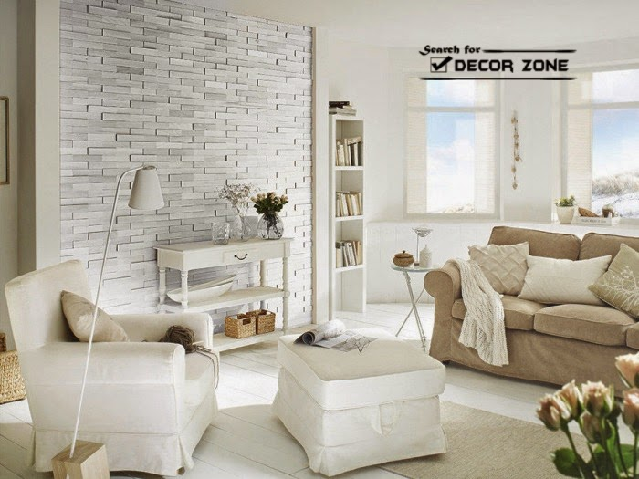 White Living Room Design And Single Stone Wall Part 33