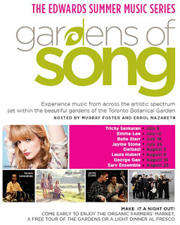 Toronto Botanical Garden 2012 Summer Music Series: Gardens of Song, poster