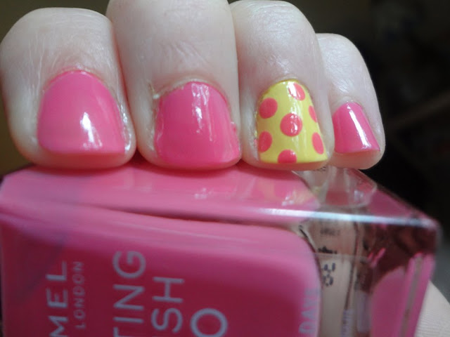 pink and yellow polka dots mani