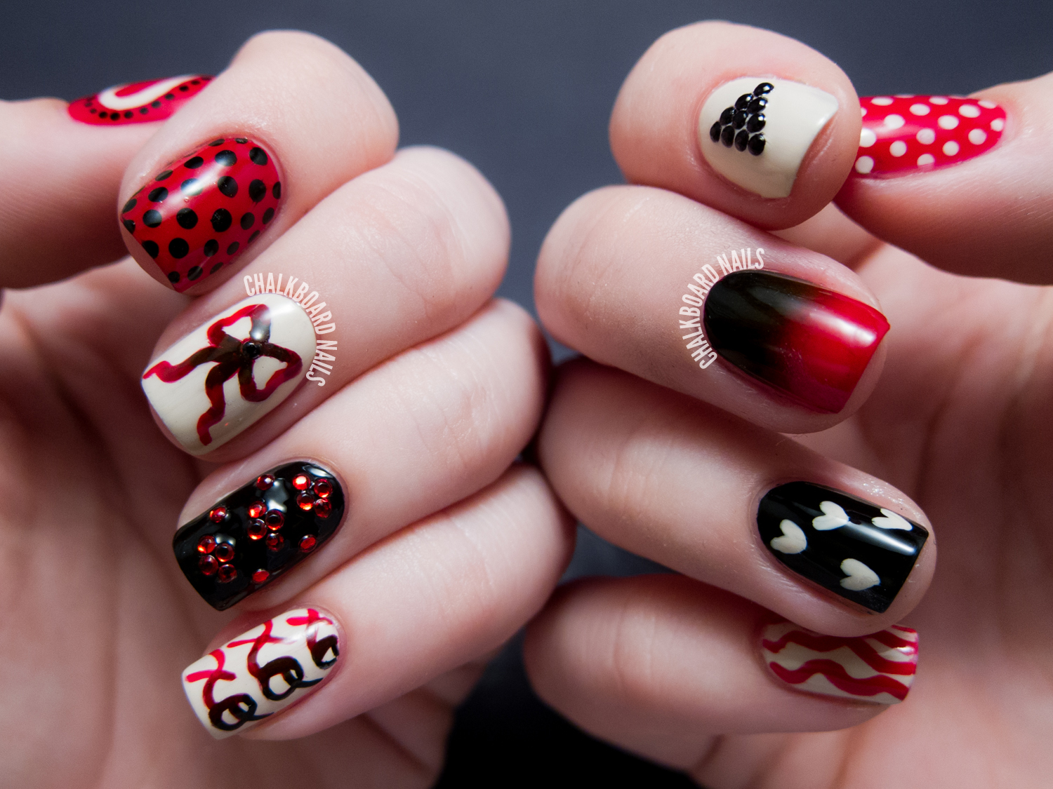 31DC2013 Day 01: Red Mix and Match | Chalkboard Nails | Nail Art Blog