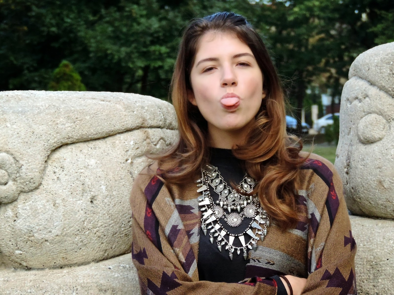 Fashion blogger pulling silly faces
