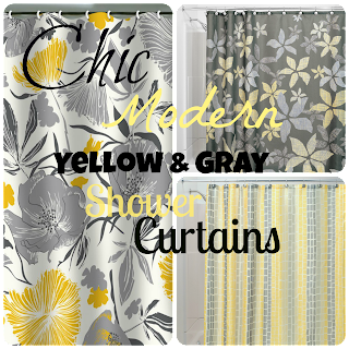 cheap gray and yellow shower curtains