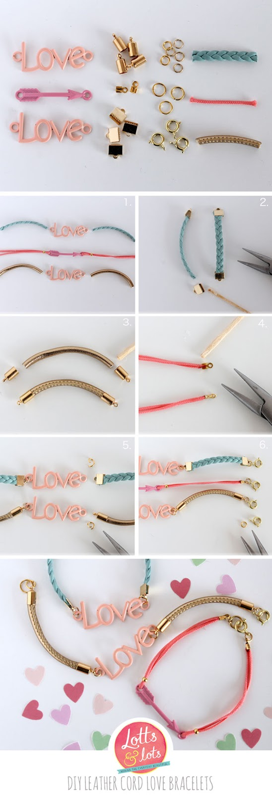 diy leather cord love bracelet lotts and lots making