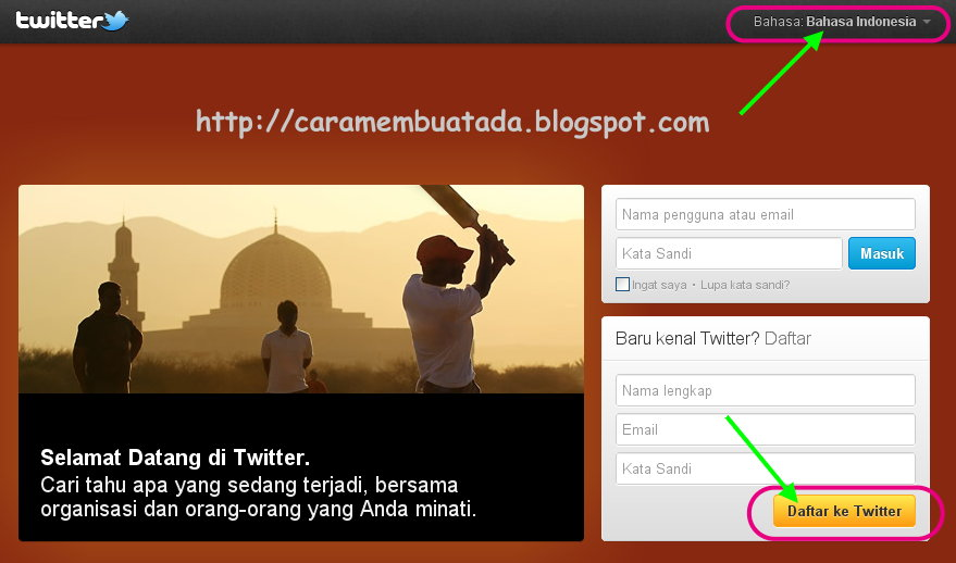 Halaman Awal Twitter Indonesia