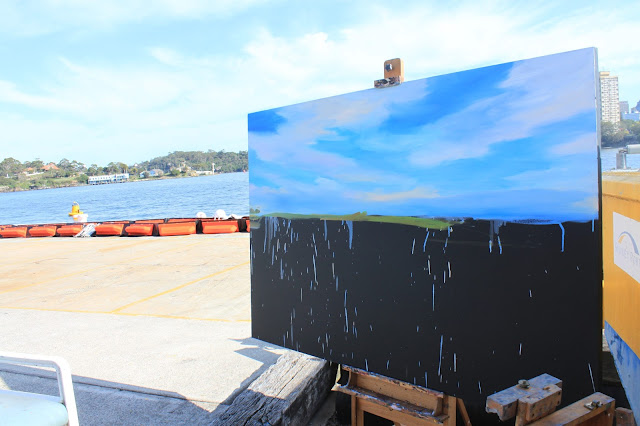 Starting a large plein air painting of Goat Island from Moore's Wharf by artist Jane Bennett