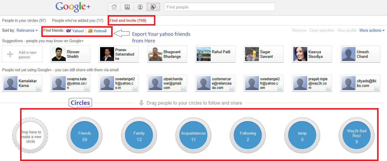 How to Invite your Facebook Yahoo Gmail Friends to Google The