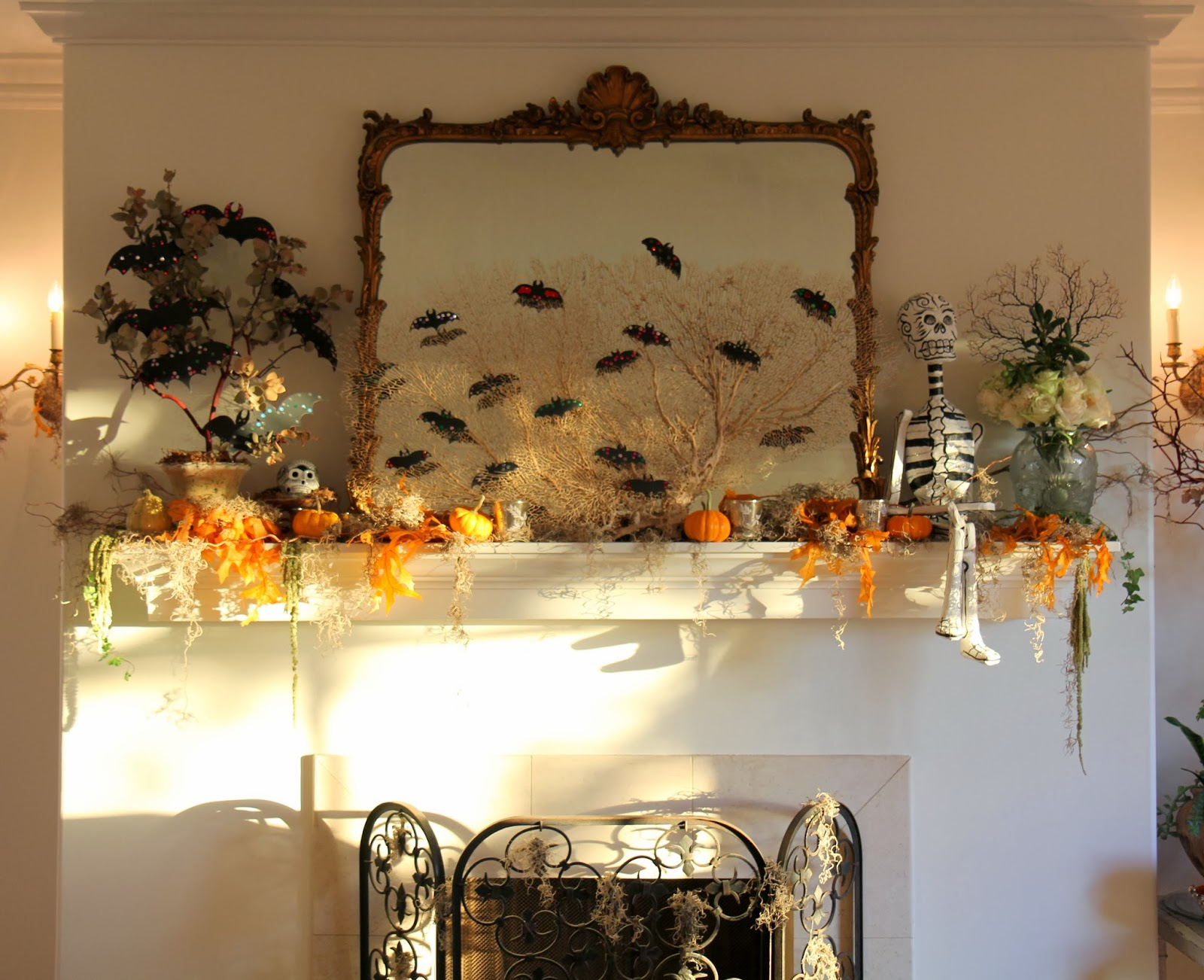 Living Room Mantle; Here Come the Skeletons