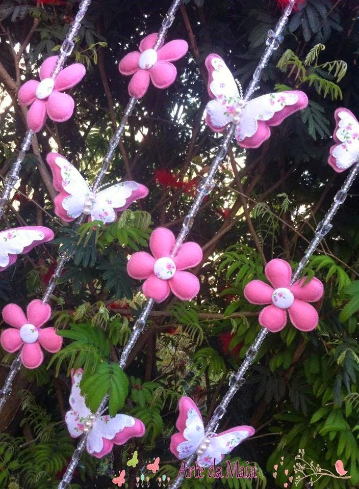 flores jardim do mar:Ateliê Arte da Maia: Mobile de Cortina Flores e Borboletas!!!!!