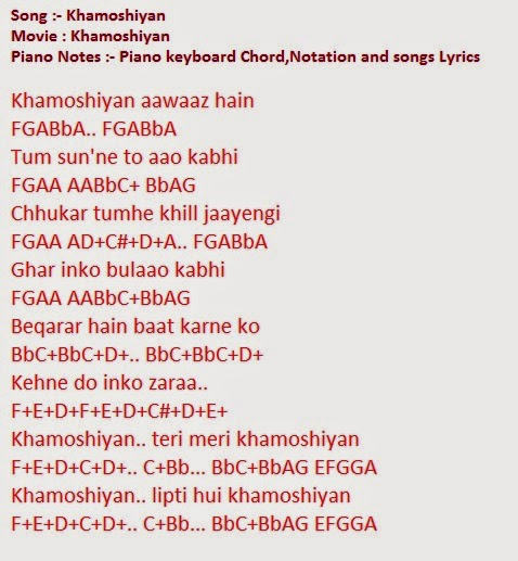 Song- Khamoshiyan Piano keyboard Chord,Notation and songs Lyrics