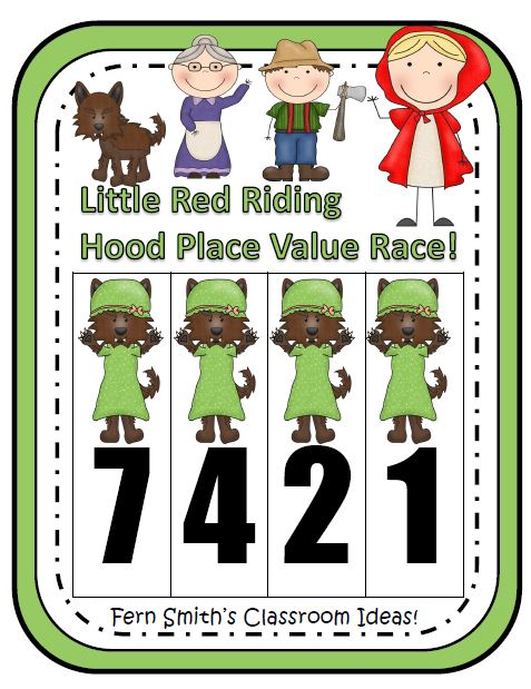 Fern Smith's Classroom Ideas Place Value Race Game Little Red Riding Hood Theme
