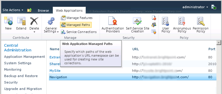 sharepoint web application managed path