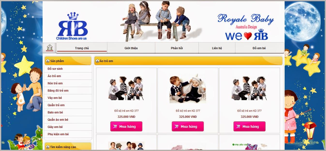 thiết kế web bán hàng cho bé