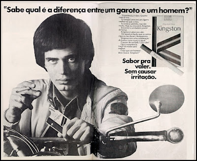 Propaganda  cigarros Kingston; Kingston cigarettes; propaganda anos 70; história decada de 70; reclame anos 70; propaganda cigarros anos 70; Brazil in the 70s; Oswaldo Hernandez;