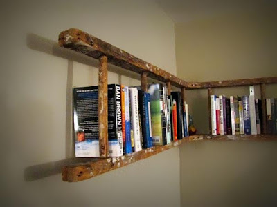 Old Ladder as Bookshelf