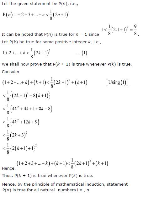 1 + 2 + 3 +…+ n < 1/8(2n + 1)2.