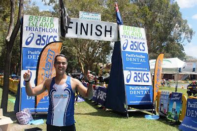 finish line Queensland Triathlon Series Bribie Island Feb 2013 energia sports oscar mendez