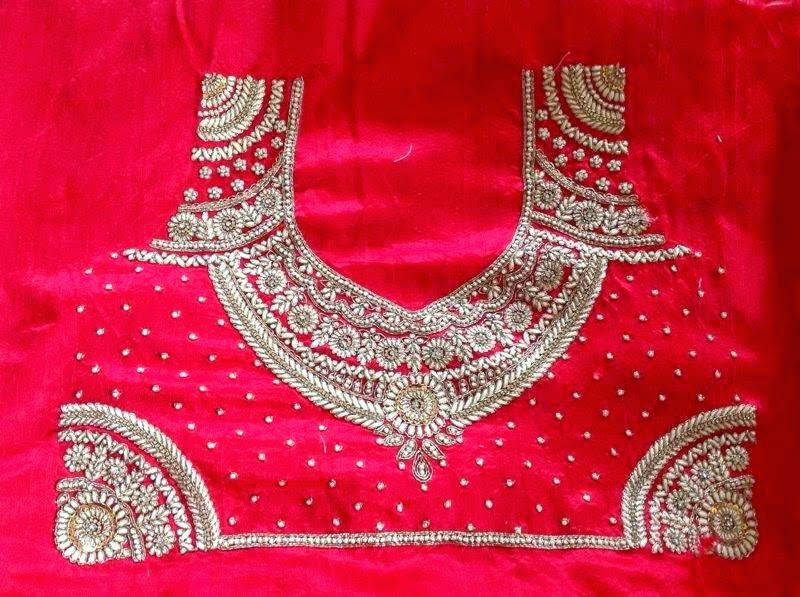 South indian bridal blouse designs maggam work