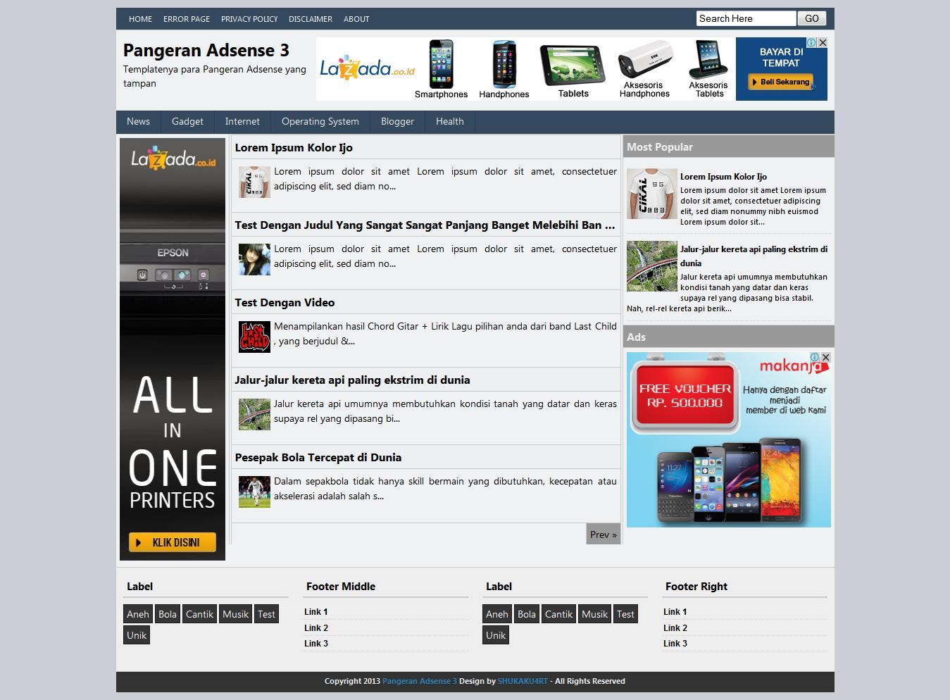 Pangeran Adsense Blogger Template - 3 Kolom