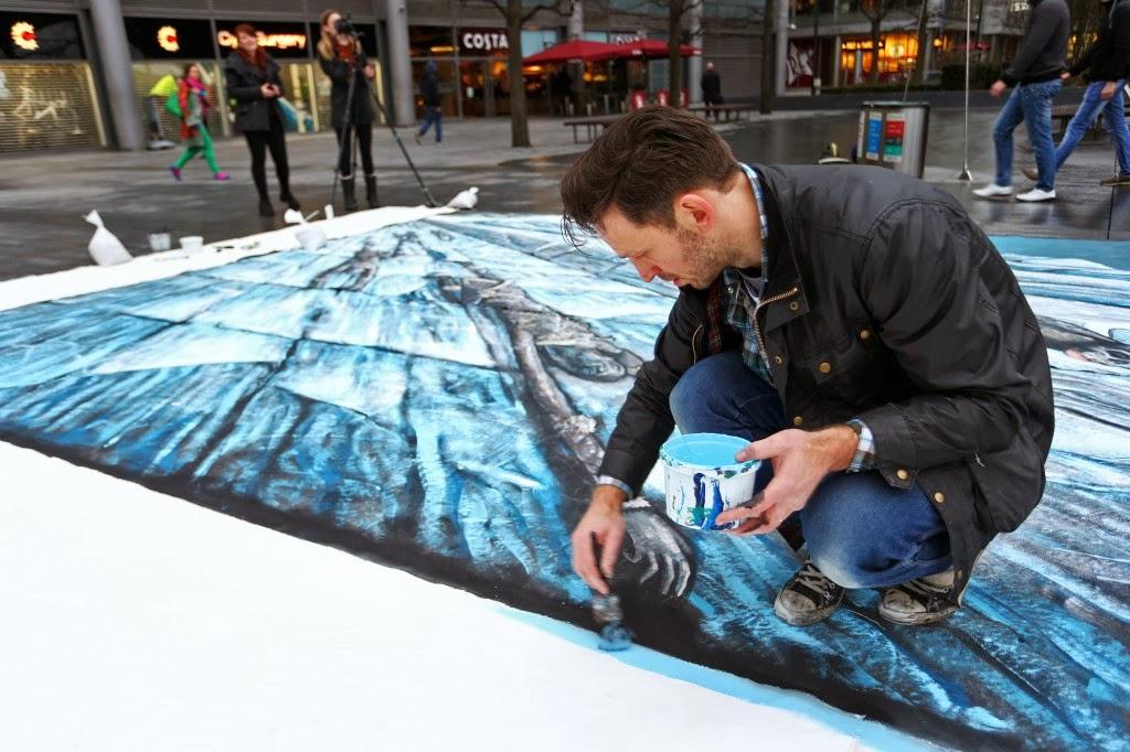 Pintando mural 3D el muro de Juego de Tronos - Juego de Tronos en los siete reinos