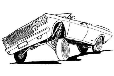 Carros corrida colouring pages - Lowriders Colouring Pages