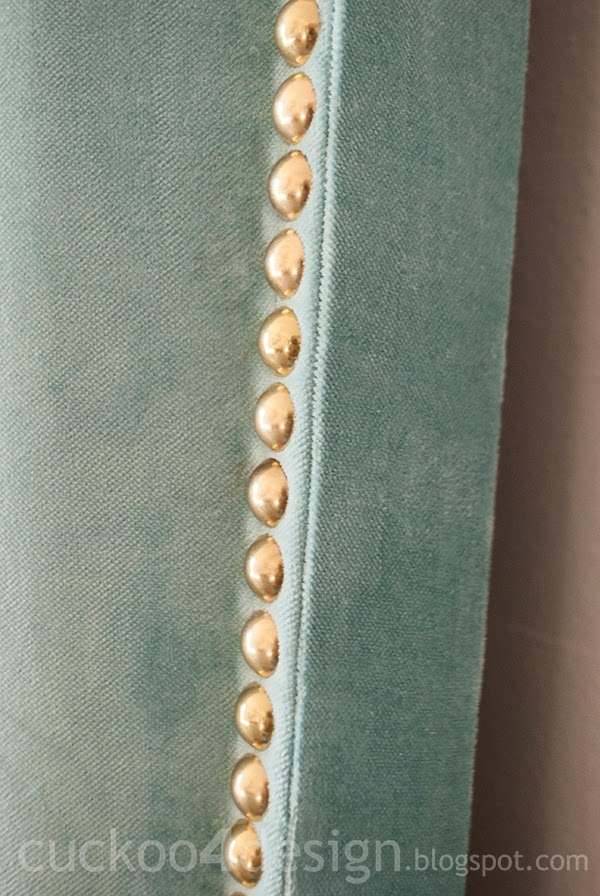 individual upholstery brass nailhead application