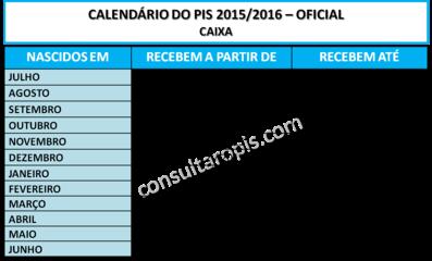 Calendário do PIS 2015/2016