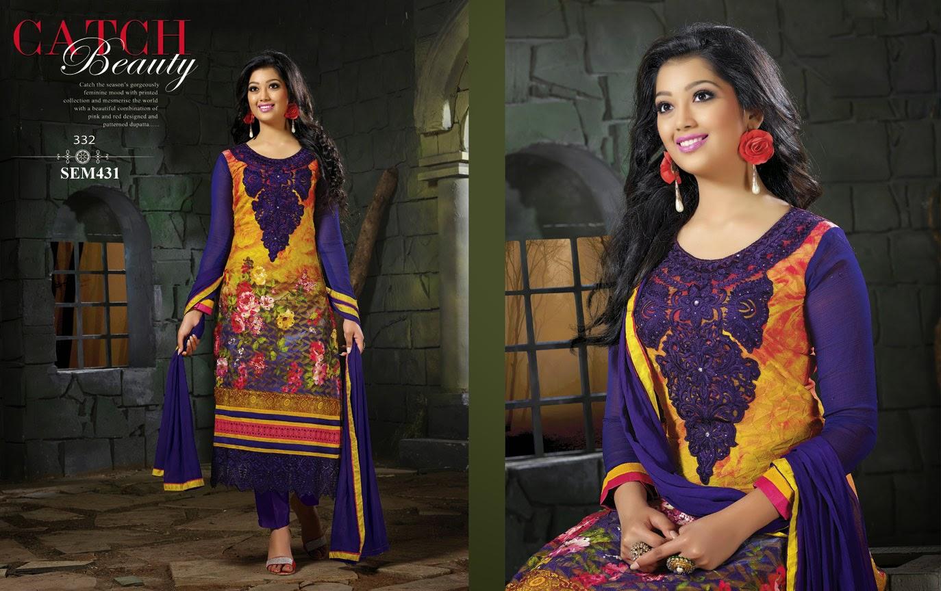Veera Serial Actress Long Georgette Salwar Kameez