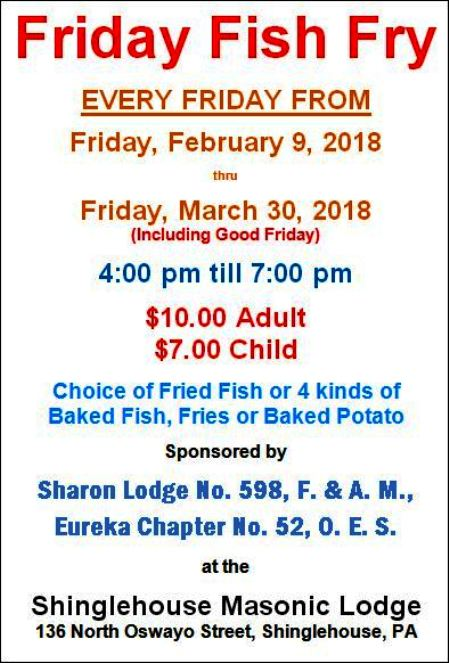 3-30 Masonic Lodge Fish Fry, Shinglehouse