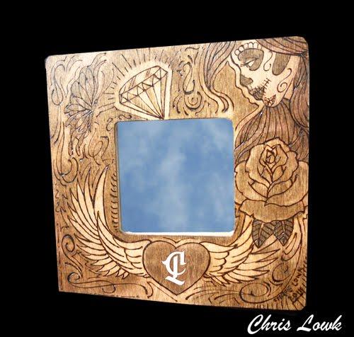 wood burning art on mirror frame - Wood Burning Picture Frame