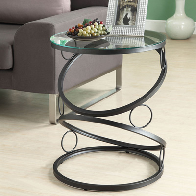 Recycled art Black glass side tables for living room