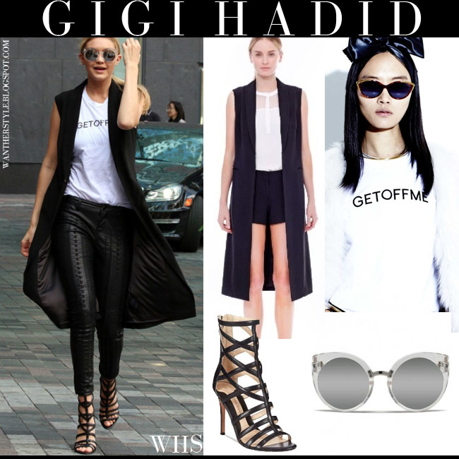 Gigi Hadid in black long vest, white t-shirt, black pants, silver Quay sunglasses and black strappy Carolina Espinosa Sari sandals what she wore june 21 chic streetstyle