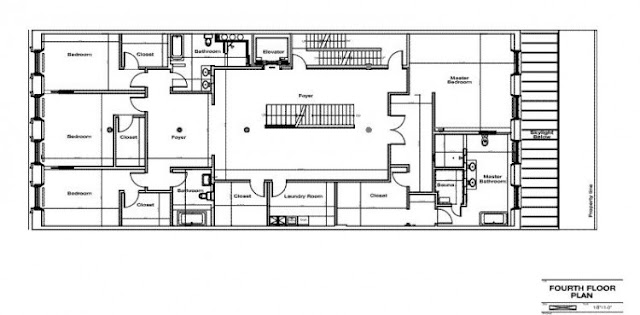 Floor plan of the fourth floor of Tribeca triplex