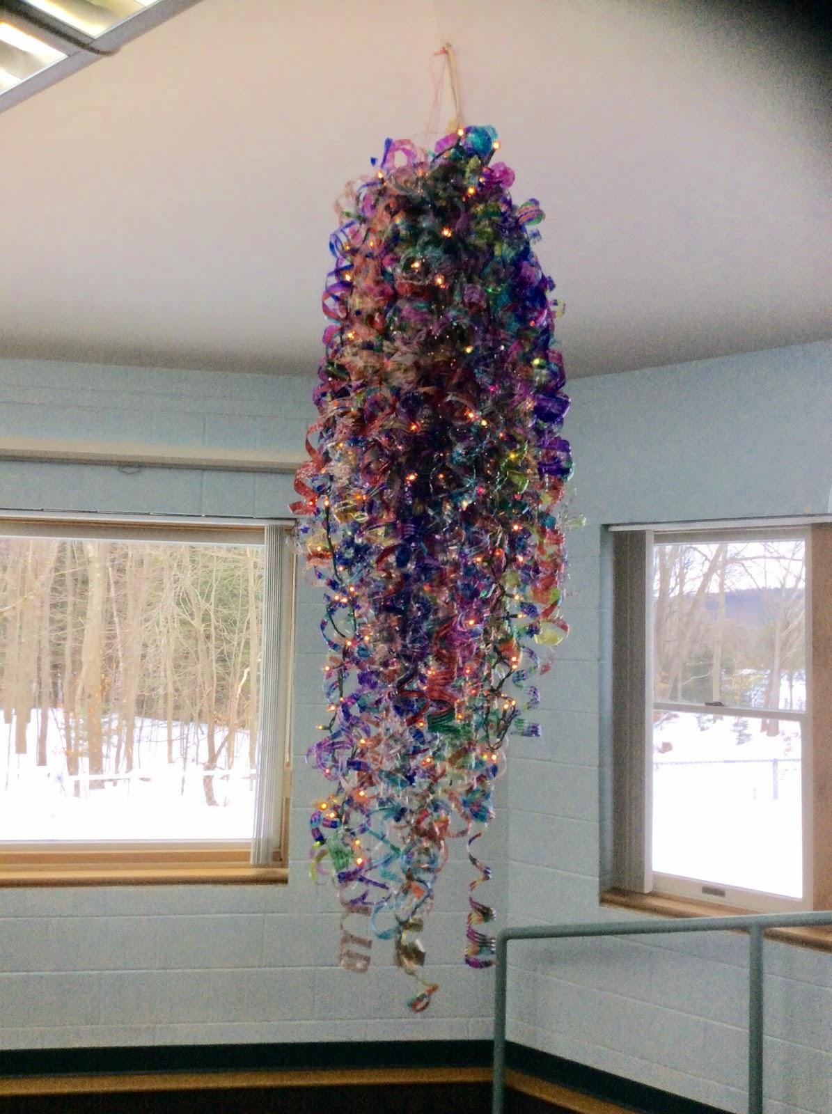 Art with mrs elliott water bottle chandelier res for Chandelier craft ideas