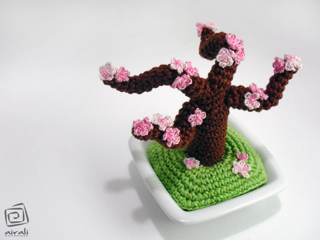 Pesco bonsai Amigurumi Crochet+amigurumi+peach+cherry+bonsai+tree+pink+blossom