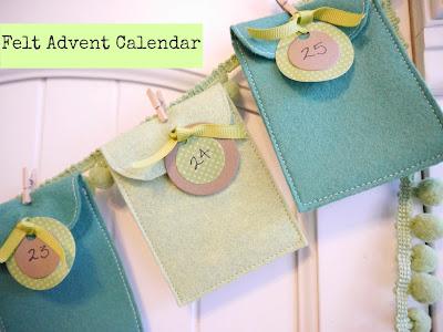 Calendário de feltro para o Natal