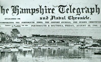 Steam train crossing Fareham Viaduct 1946