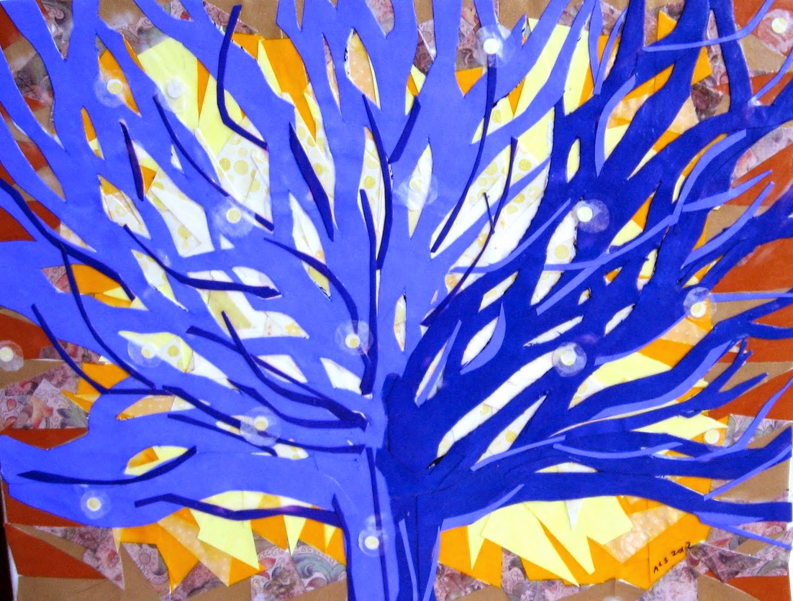 Blue Flame Tree collage