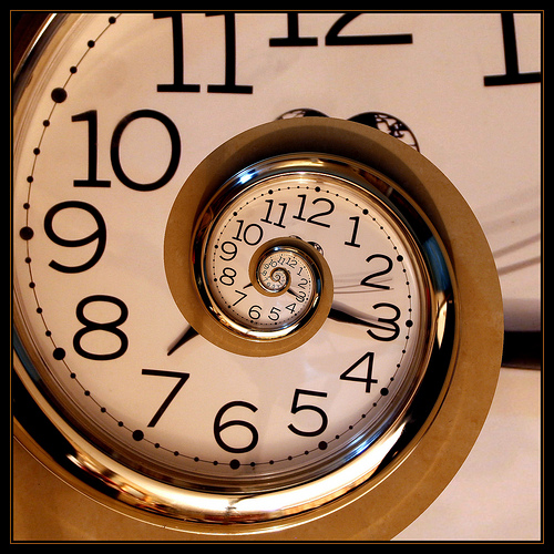 an abstracted photo of a spiral vortex of time spinning through clock numbers