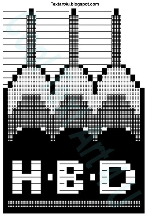 HBD Cake ASCII Text Art for Status and Comments Cool ...