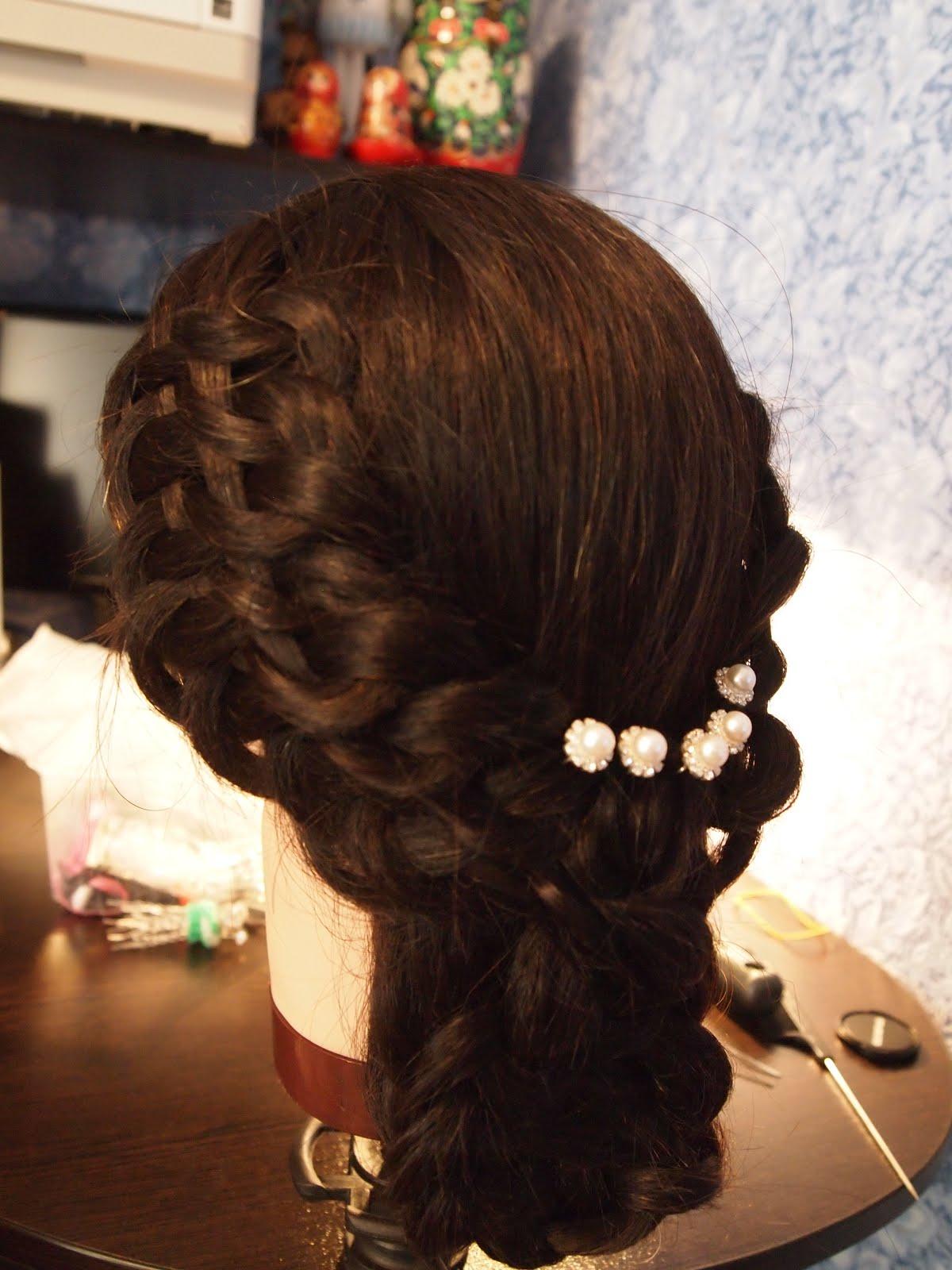 Коса для вечерней прически фото