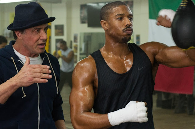 "Sylvester Stallone and Michael B. Jordan in ""Creed"", a sequel to ""Rocky"""