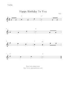 Sheet Music Scores: Happy Birthday To You, free violin sheet music
