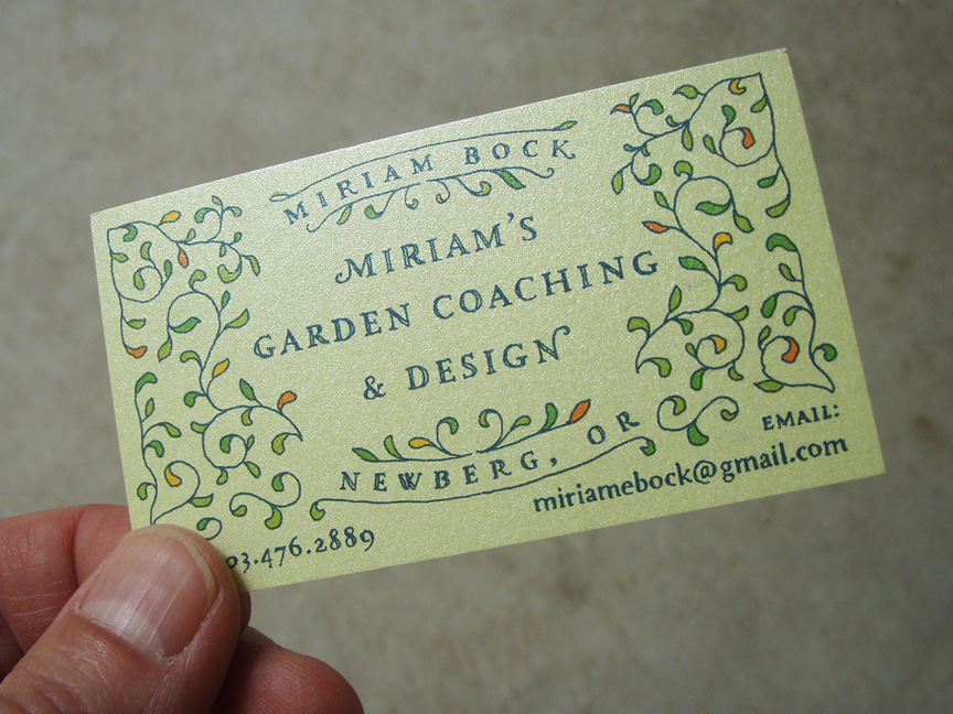 i hand lettered this business card design for miriam bocks garden coaching and design business its printed on a nice iridescent paper - Garden Design Business Cards
