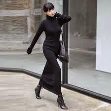 Vestido de punto ajustado largo